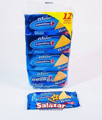"GALLETA WAFER COLOMBINA VAINILLA -B.-168G ""C/36/12"""