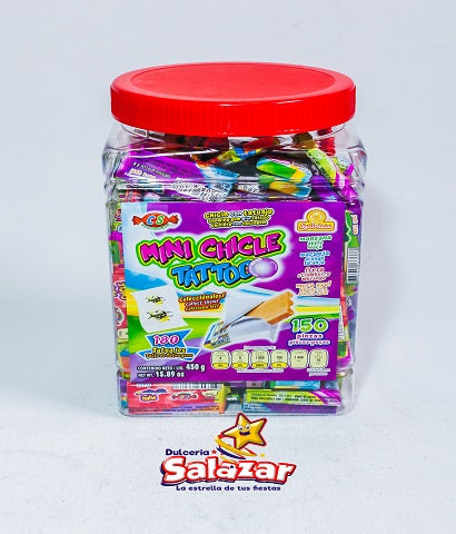"CHICLE TATTOO MINI DELICIAS -V.-450G.- ""C/24/150"" - Dulcería Salazar"