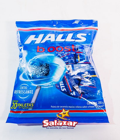 "PALETA HALLS LOLLIPOP BOOST  -B.280G.- ""C/16/20"""