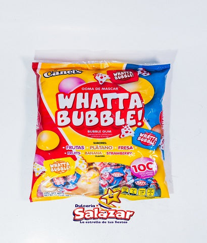 "WHATTA BUBBLE CHICLE SABORES SURTIDO B.-400GR.- ""C/20/100"""