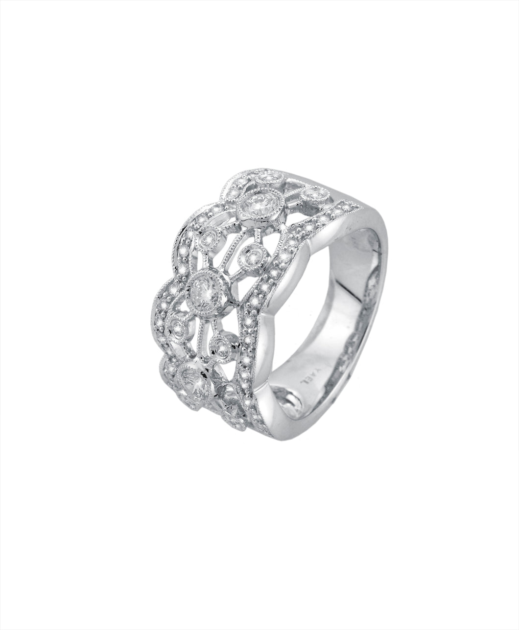 Bezel Design Diamond Band - White Gold