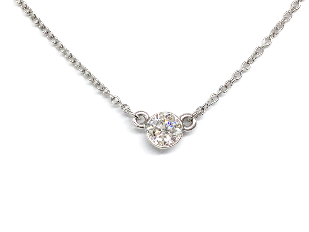 Diamond Bezel Necklace 0.32ct - White Gold