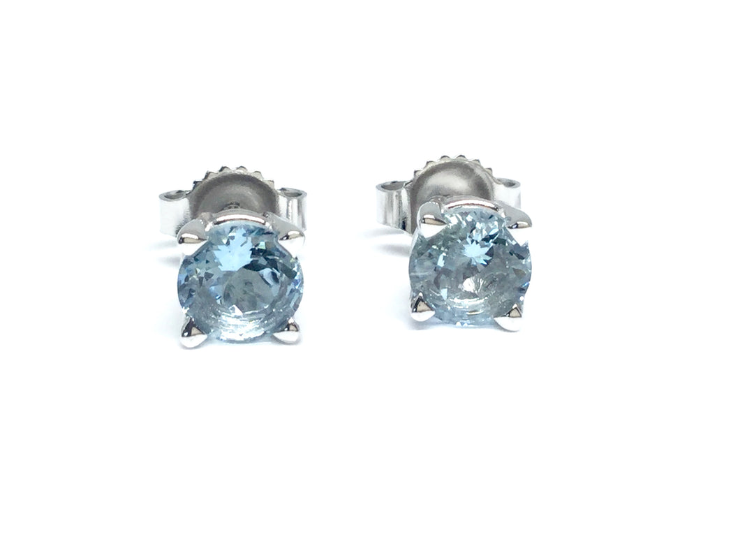 Aqua Stud Earrings 5mm - White Gold