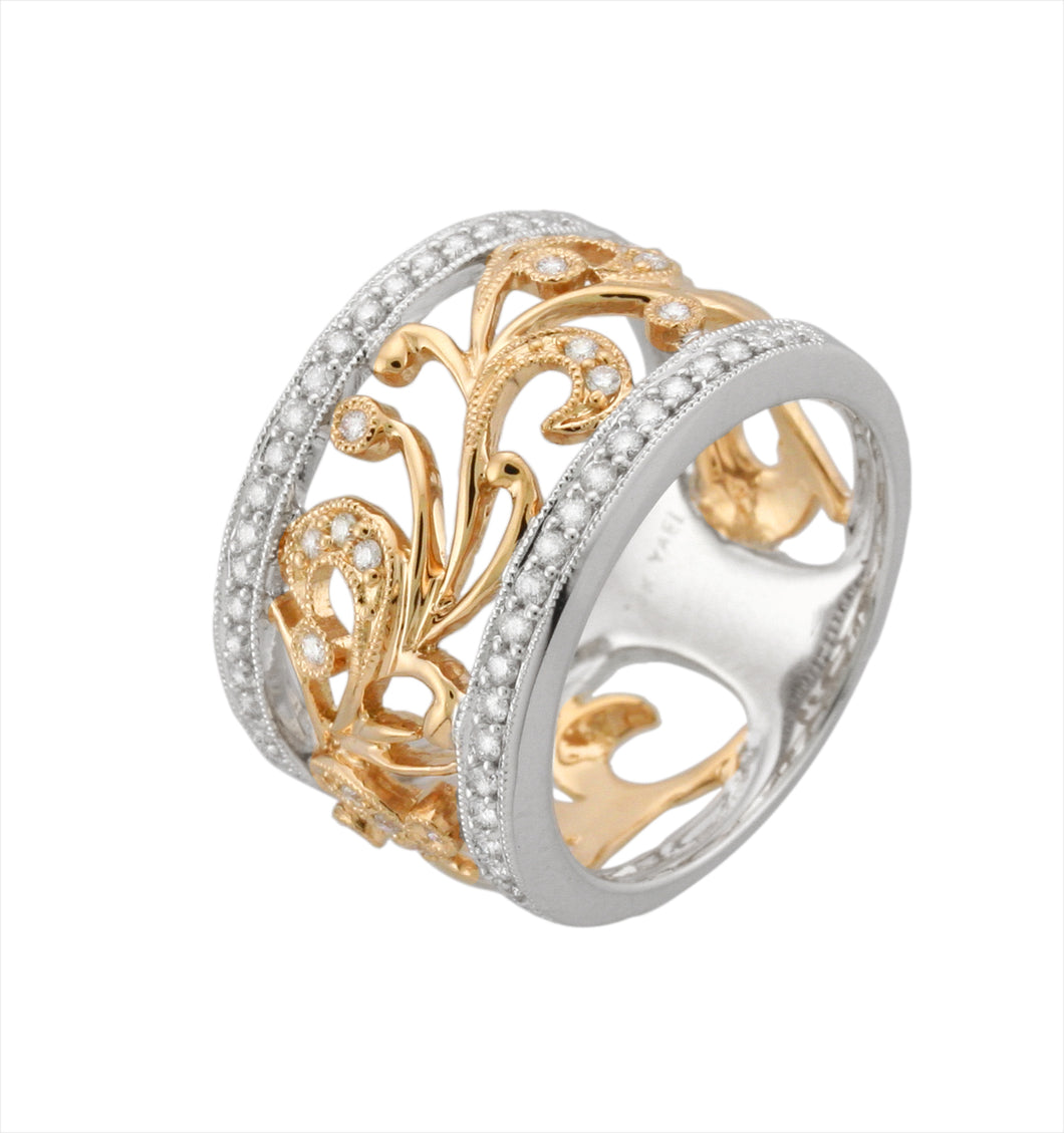 Filigree Style Diamond Band - Two Tone