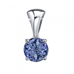 Tanzanite Solitaire Pendant 5.5mm - White Gold