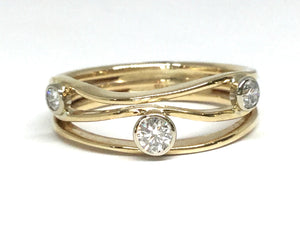Diamond River Stones Ring III - Yellow Gold