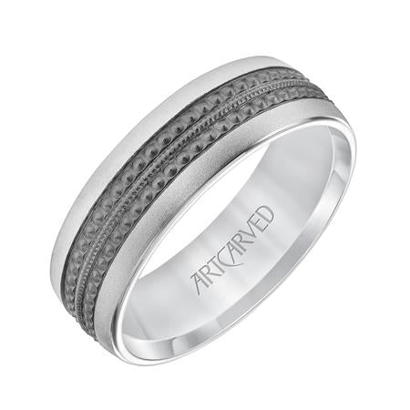 Black Rhodium Center Band - White Gold