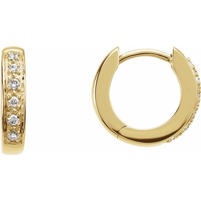 Huggie Style Pave Diamond Hoop Earrings - Yellow Gold