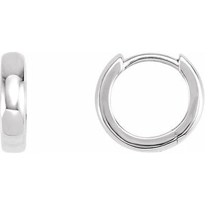 Huggie Style Hoop Earrings 11.5mm - White Gold