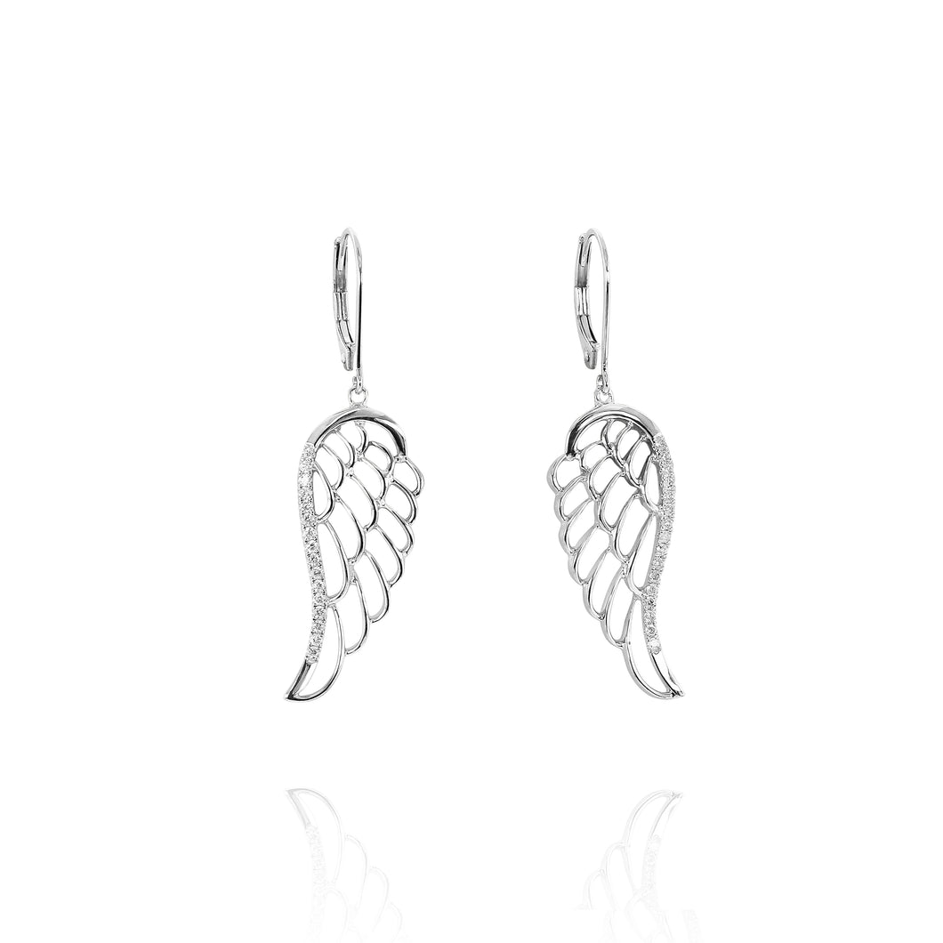 Angel Wing Diamond Earrings - White Gold