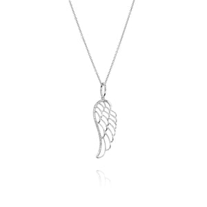 Angel Wing Diamond Pendant - White Gold