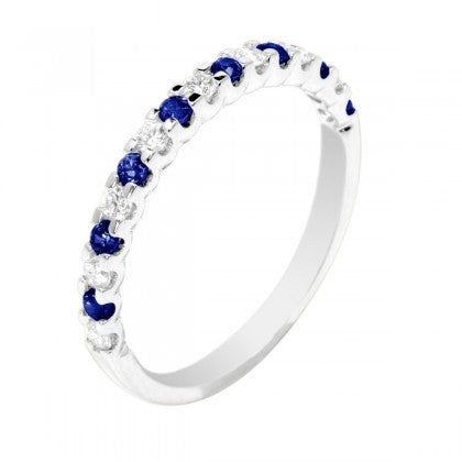 Sapphire and Diamond Band - White Gold
