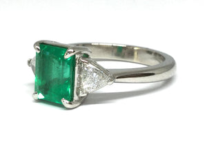 1.76ct Emerald & Diamond 3 Stone Ring GIA - Platinum