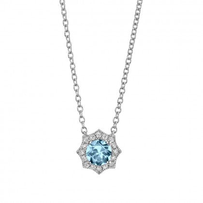Aquamarine Necklace w/ Star Diamond Halo - White Gold