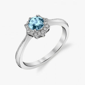 Aquamarine Ring w/ Star Diamond Halo - White Gold
