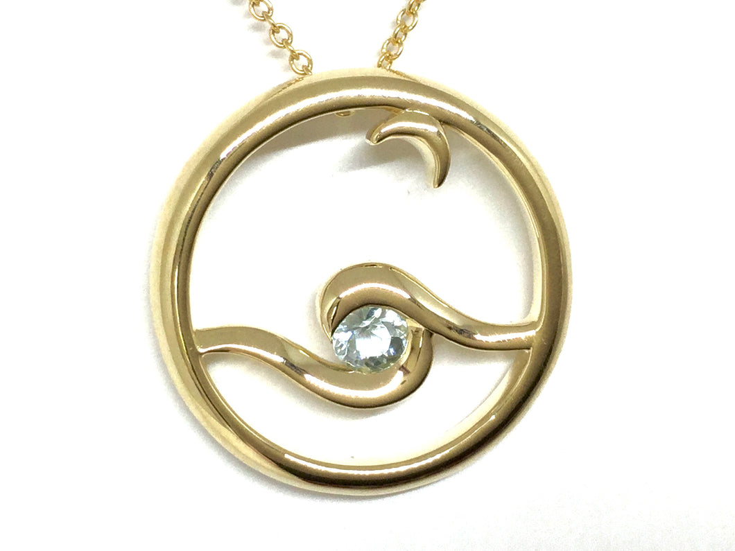 Moon Glow Pendant w/ Aquamarine - Yellow Gold