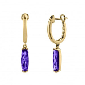 Amethyst Semi-Bezel Dangle Earrings - Yellow Gold