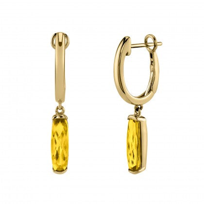Citrine Semi-Bezel Dangle Earrings - Yellow Gold