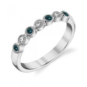 Alexandrite and Diamond Band - White Gold