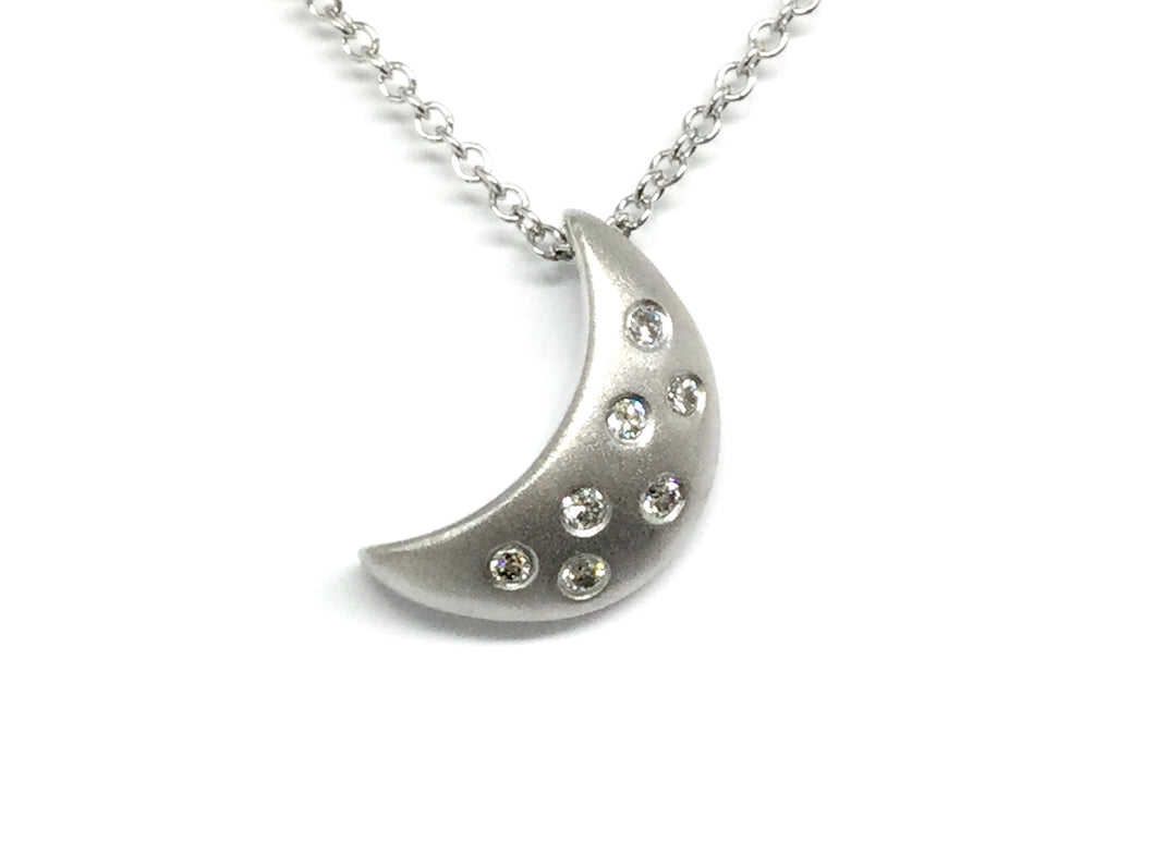 Moonlight Pendant w/ Diamonds - White Gold