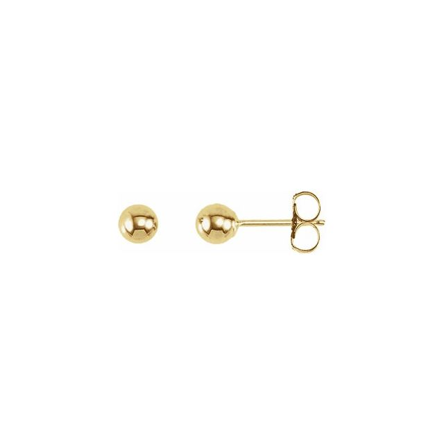 Ball Stud Earrings 4.0mm -Yellow Gold