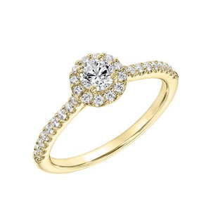 0.63ctw Diamond Halo Ring - Yellow Gold