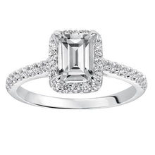 Load image into Gallery viewer, 0.96ctw Emerald Cut Diamond Halo Ring GIA - White Gold