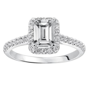 0.96ctw Emerald Cut Diamond Halo Ring GIA - White Gold