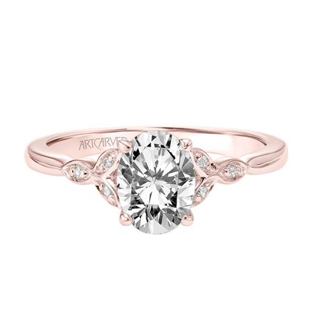 1.11ctw Oval Cut Diamond Ring GIA - Rose Gold