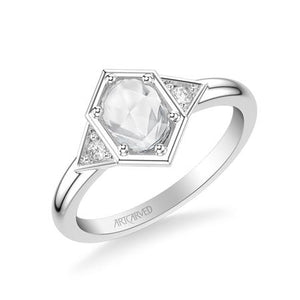 0.56ctw Rose Cut Diamond Deco Style Ring - White Gold