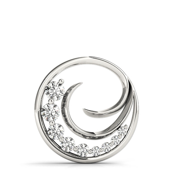 Journey/Wave Diamond Pendant - White Gold