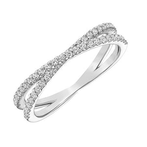 Criss Cross Diamond Band - White Gold