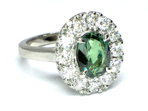 Alexandrite Ring w/ Diamond Halo - Platinum