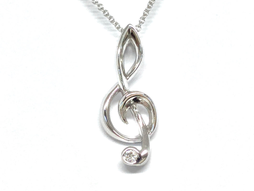 Charity Clef Pendant w/ Diamond - White Gold