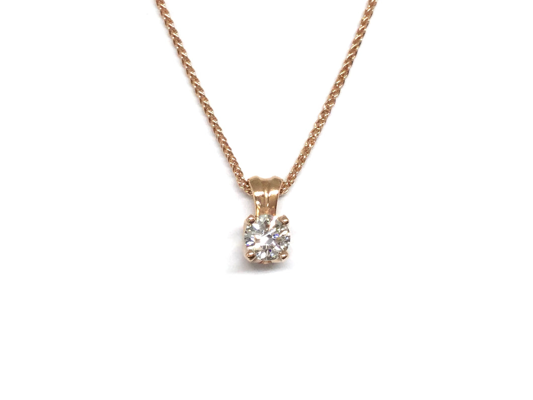Diamond Solitaire Pendant 0.45ct - Rose Gold
