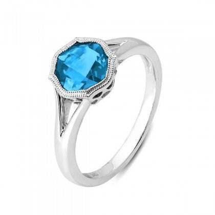 Blue Topaz Split Shank Ring - White Gold