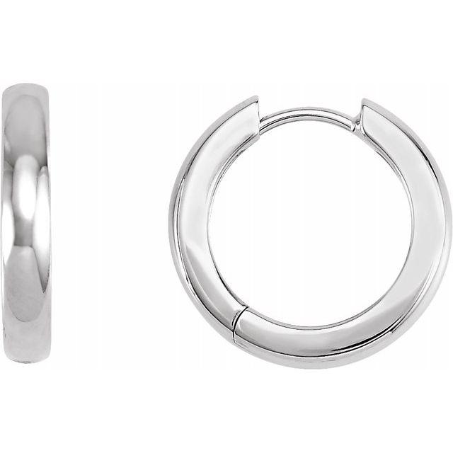 Huggie Style Hoop Earrings 17.5mm - White Gold