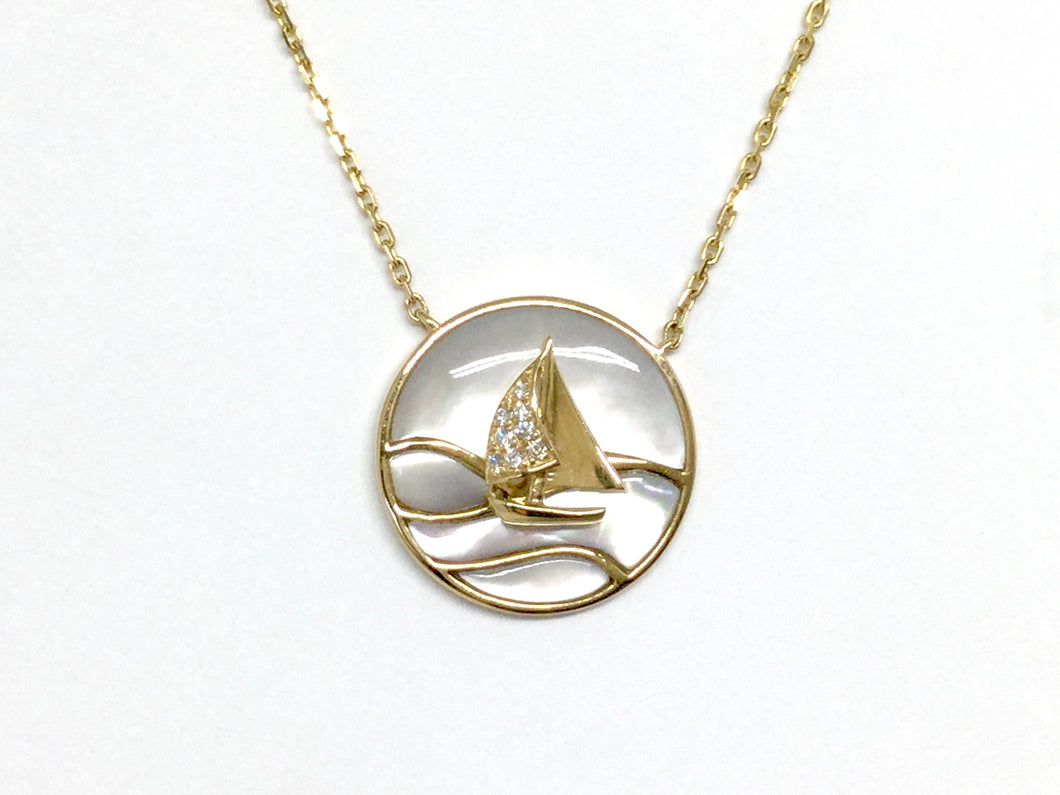 Sailboat Necklace w/ Diamonds and Mother of Pearl - Yellow Gold