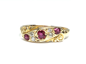 Victorian Ruby & Diamond Ring - Yellow Gold