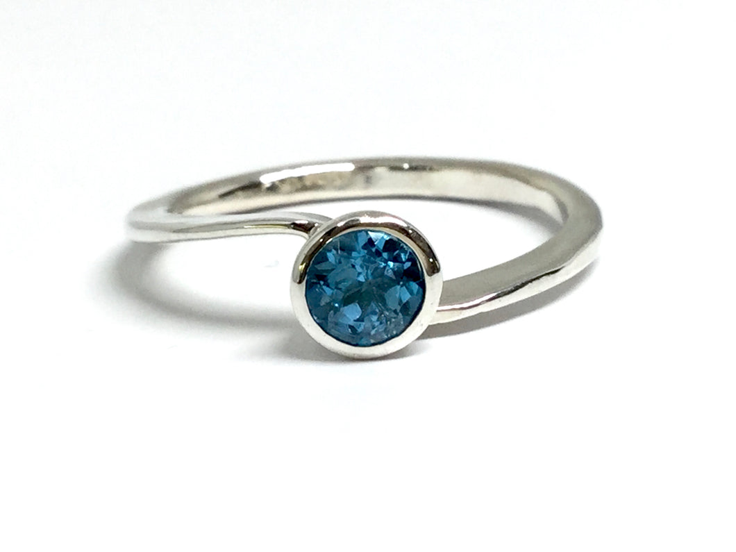 Blue Topaz Wavy Stacking Ring - Silver