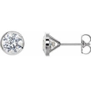Diamond Bezel Stud Earrings 0.26ctw - White Gold