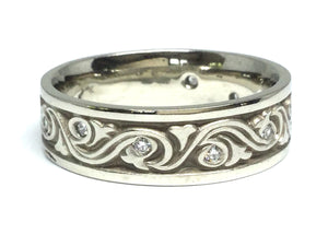 Wind & Waves Ring Wide w/ Diamonds- White Gold