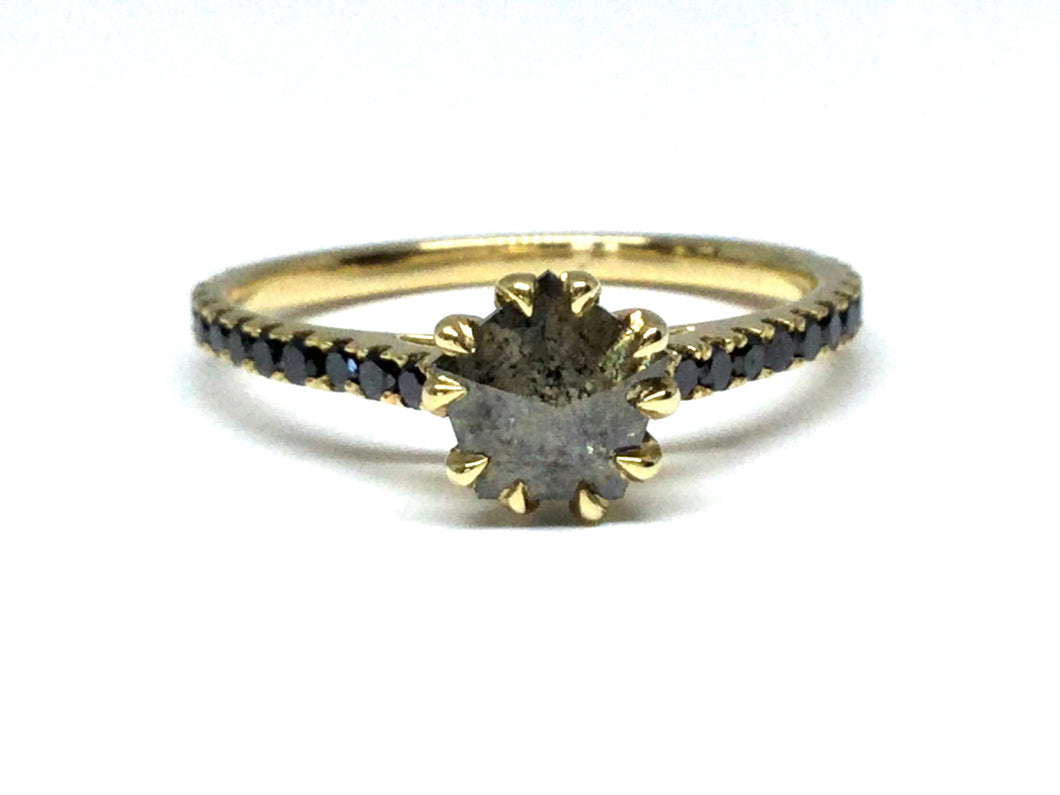 Pentagon Shape Diamond Ring w/ Black Diamonds - Yellow Gold