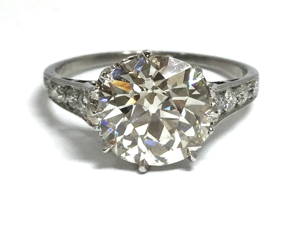 3.04ctw Old Euro Diamond Deco Ring GIA - Platinum