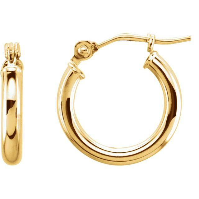Hoop Earrings 13 x 2mm - Yellow Gold
