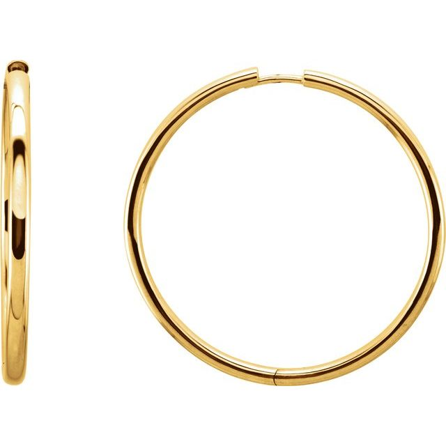 Huggie Style Hoop Earrings 38.7mm - Yellow Gold