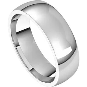 Half Round Band 5mm - White Gold