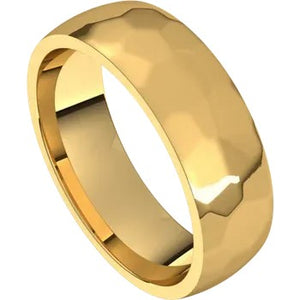 Rock Texture Half Round Band 6mm - Yellow Gold