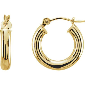 Hoop Earrings 15 x 3mm - Yellow Gold