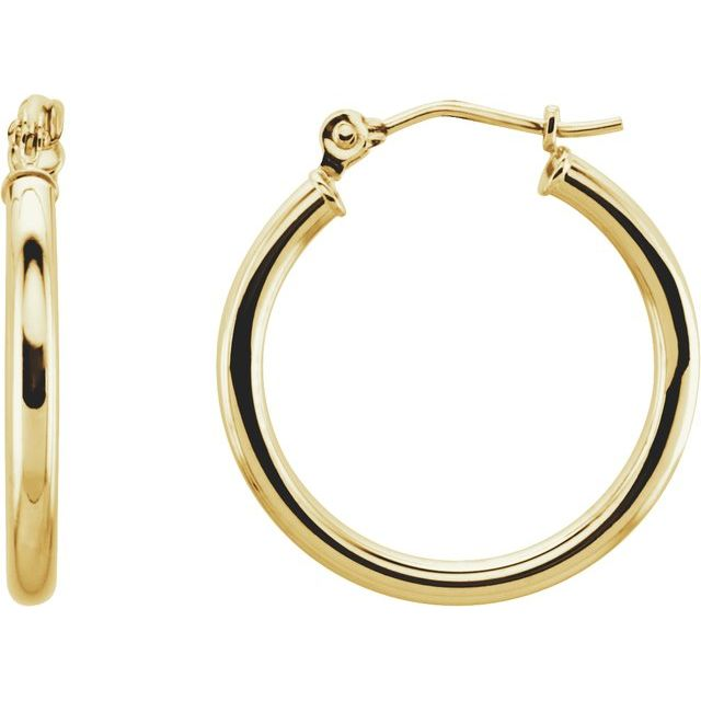 Hoop Earrings 20 x 2mm - Yellow Gold